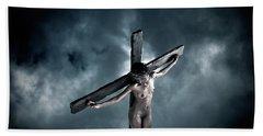 Black Crucified Jesus Beach Towel