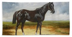 Black English Horse 2 Beach Towel