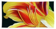 Beach Towel featuring the painting Black-eyed Susan Daylily I by Patricia Griffin Brett