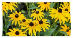 Black-eyed Susan Up Close Beach Sheet by E Faithe Lester
