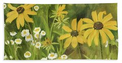 Black-eyed Susans In A Field Beach Sheet by Laurie Rohner