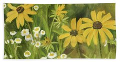 Black-eyed Susans In A Field Beach Sheet