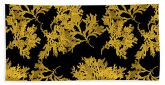 Beach Towel featuring the mixed media Black Gold Leaf Pattern by Christina Rollo