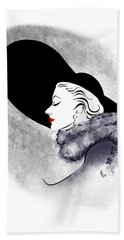 Beach Towel featuring the digital art Black Hat Red Lips by Cindy Garber Iverson