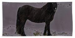 Black Horse In The Snow Beach Towel