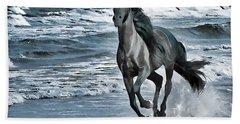Black Horse Running Through Water Beach Towel by Lanjee Chee