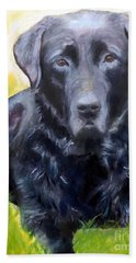 Black Lab Pet Portrait Beach Sheet