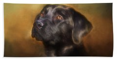 Black Lab Portrait 2 Beach Sheet by Eleanor Abramson