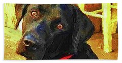 Beach Towel featuring the painting Black Lab Wants To Go For A Walk by Joseph J Stevens
