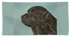 Black Labrador Dog Profile Painting Beach Towel