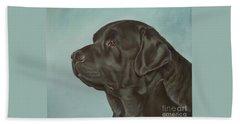 Black Labrador Dog Profile Painting Beach Sheet
