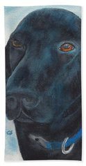 Black Labrador With Copper Eyes Portrait II Beach Sheet