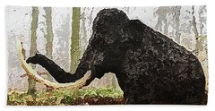 Beach Towel featuring the digital art Black Mammoth by PixBreak Art