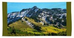 Black Mesa Rocky Peak In Autumn Beach Sheet