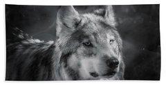 Black N White Wolf Beach Towel by Elaine Malott