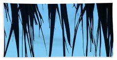 Black Palms On Blue Sky Beach Towel