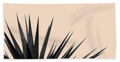 Black Palms On Pale Pink Beach Towel