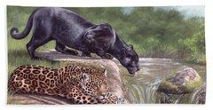 Black Panther And Jaguar Beach Towel