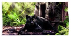 Black Panther Custodian Of Ancient Temple Ruins  Beach Towel