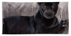 Black Panther  Beach Sheet by Gray Artus