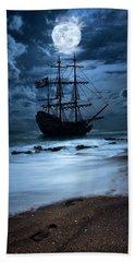 Black Pearl Pirate Ship Landing Under Full Moon Beach Sheet by Justin Kelefas