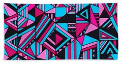 Black Pink Blue Geometric Design Beach Sheet