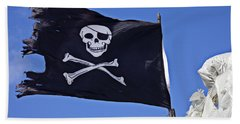 Black Pirate Flag  Beach Towel