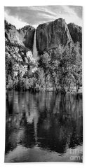 Black Reflections Yosmite Falls Beach Towel by Chuck Kuhn