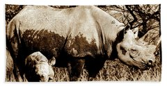 Black Rhino And Youngster Beach Towel