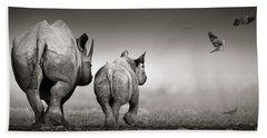 Black Rhino Cow With Calf  Beach Towel
