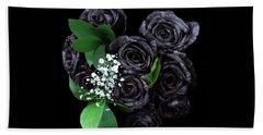 Black Roses Bouquet Beach Sheet