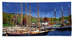 Black Sailboats Beach Sheet by Kirt Tisdale