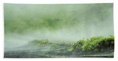 Black Sand Beach In The Mist Beach Towel by Joan Davis