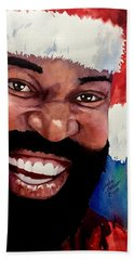 Beach Towel featuring the painting Black Santa by Michal Madison
