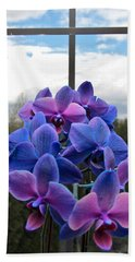 Beach Towel featuring the photograph Black Sapphire Orchids  by Aaron Berg