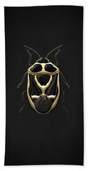 Black Shieldbug With Gold Accents  Beach Towel