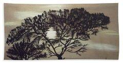 Black Silhouette Tree Beach Towel