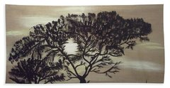 Black Silhouette Tree Beach Towel