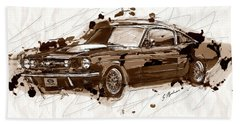 Black Stallion 1965 Ford Mustang Fastback #2 Beach Sheet by Gary Bodnar