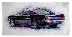 Black Stallion 1965 Ford Mustang Fastback Beach Towel
