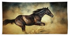 Black Stallion Horse Galloping Like A Devil Beach Sheet