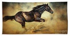 Black Stallion Horse Galloping Like A Devil Beach Towel