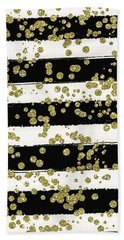 Black Stripes Gold Confetti Beach Sheet