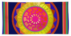 Black Sun Mandala Rune Calendar Beach Sheet