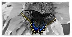 Black Swallowtail And Sunflower Color Splash Beach Towel