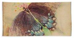 Black Swallowtail Butterfly Framed  Beach Towel