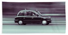 Black Taxi Bw Blur Beach Sheet