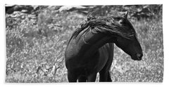 Black Wild Mustang Beach Towel