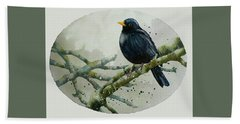Blackbird Painting Beach Sheet by Alison Fennell