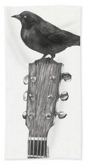 Beach Sheet featuring the drawing Blackbird Solo  by Meagan  Visser